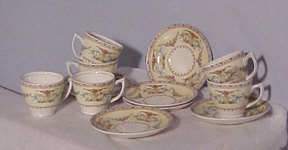 English Staffordshire Child's Dish Set, antique