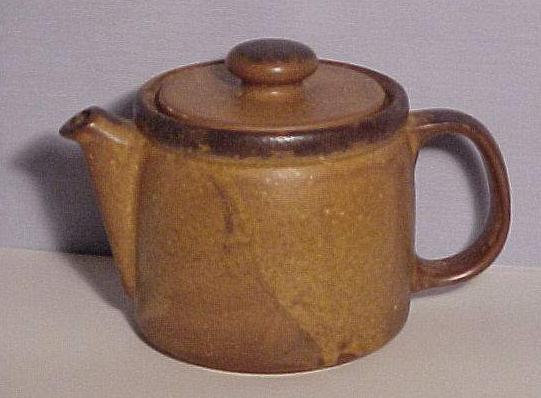 Brown McCoy Teapot with lid VG antique
