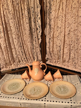 Shirley Temple Dish Set, hard to find metal dishes and Teapot, group 2