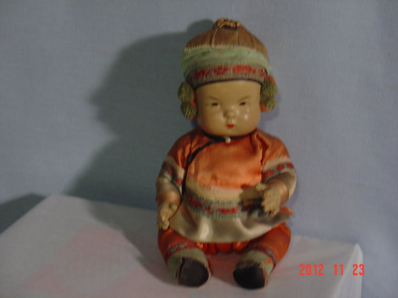"""Ming Ming Doll, Oriental composition10"""" antique"""