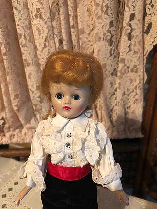 Jill Doll 1957 in black toreador pants and blouse outfit