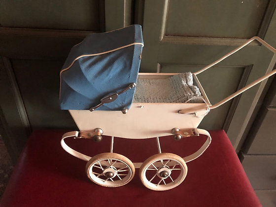French Pram, Buggy,  White with Blue Hood