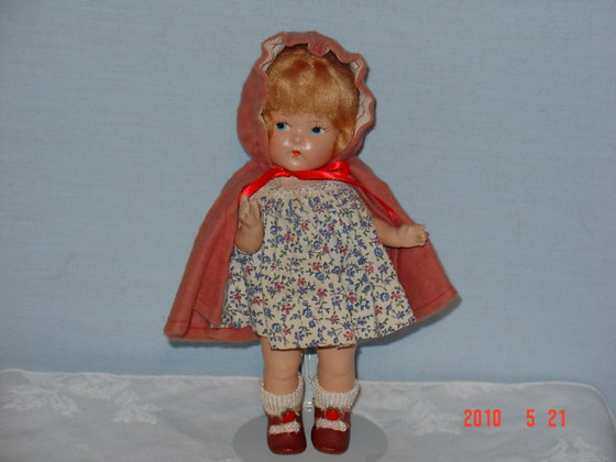 Vogue Toddles Doll, Red Riding Hood,1940's, antique