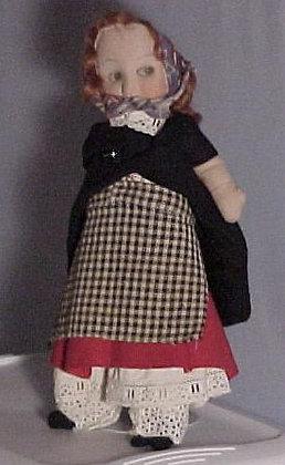"""14"""" Mask Face Peddler Girl, antique doll"""