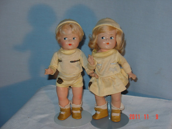 Vogue Toddles dolls, Brother and Sister,1940's antique