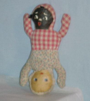 "Topsy-Turvey antique Doll - Black & White 9"""