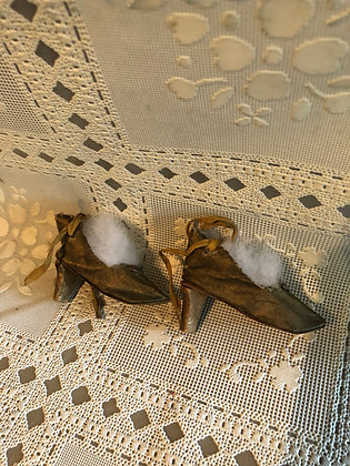 Boudoir Doll Shoes original 1920's, Gold with heels