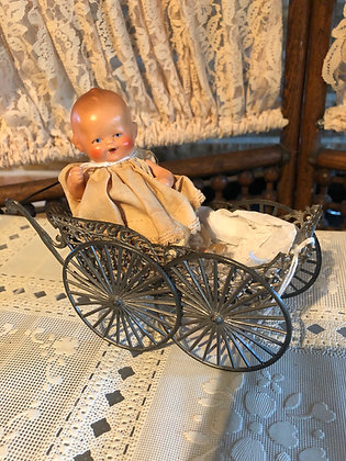 Antique Bisque Happy Doll, small size, buggy sold separately