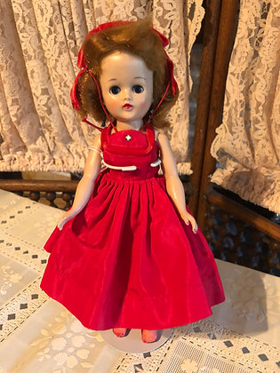 Jill Doll 1957 in red formal with hat