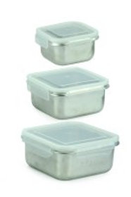 Minimal Stainless Steel Food Containers - Square - Set of 3