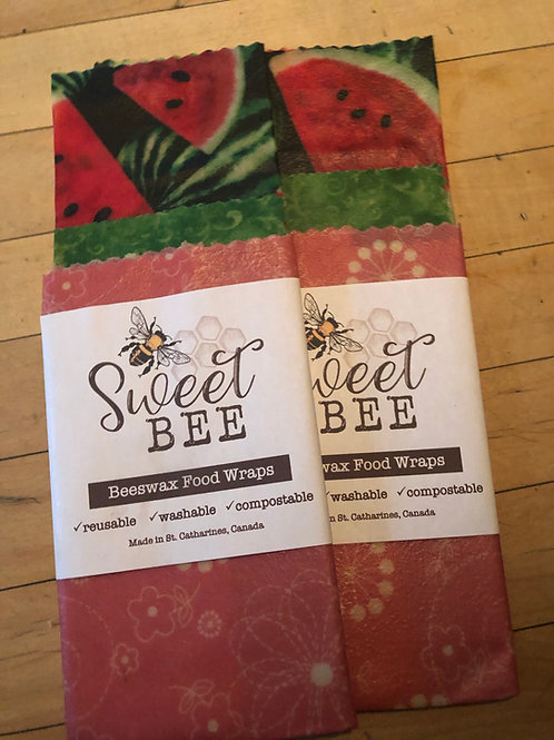 Sweet Bees Wrap - 3 Wrap Set -Watermelon