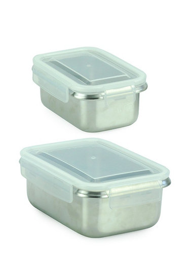 Minimal Stainless Steel Food Containers - Rectangle -Set of 2