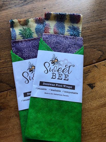 Sweet Bees Wrap - 3 Wrap Set - Pineapple