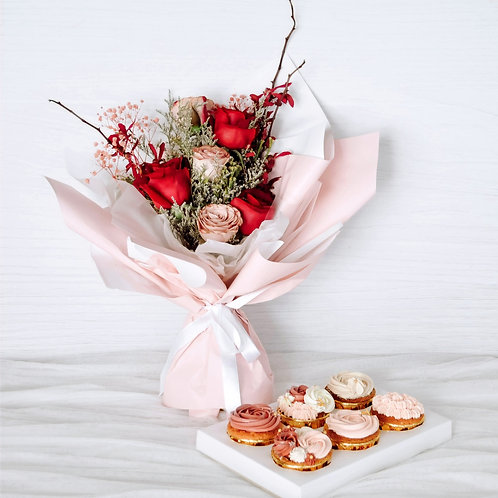 In Full Bloom Cupcakes with Floral Bouquet Bundle
