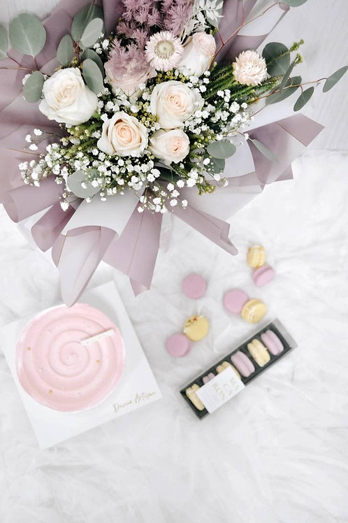 Mother's Day Cake, Macaron & Floral Bouquet Bundle