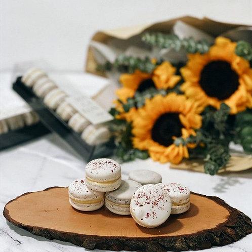 Box of 6 Macarons + Sunflower Bouquet Bundle