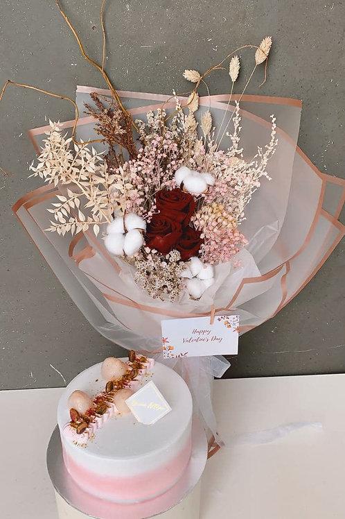 'Viva Forever' Bouquet +Lychee Rose Cake Bundle
