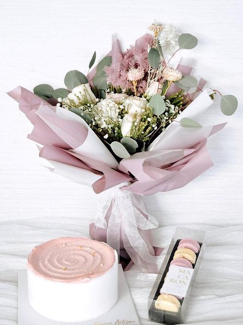 Hari Raya Seasonal Cake, Macarons & Floral Bouquet Bundle