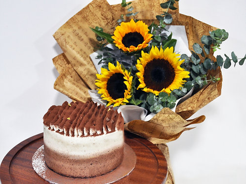 "6"" Signature Cake + Sunflower Bouquet Bundle"