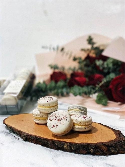 Box of 6 Macarons + Rose Bouquet Bundle
