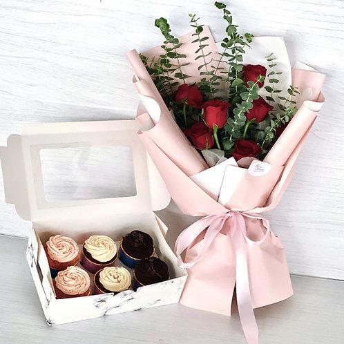 Box of 6 Cupcakes + Floral Bouquet Bundle