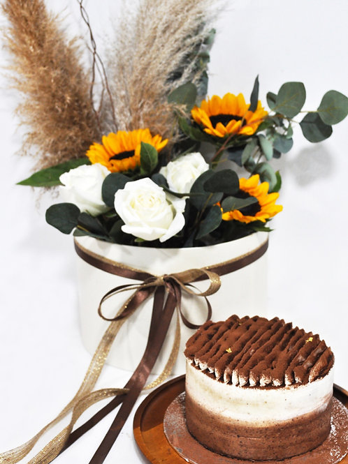 "6"" Signature Cake + Hello Sunshine Sunflower BoxBundle"