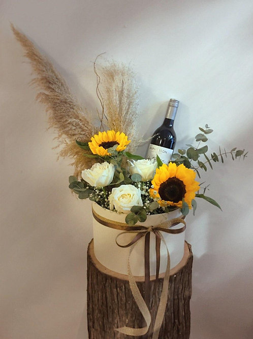 Sunflower Box with Wine