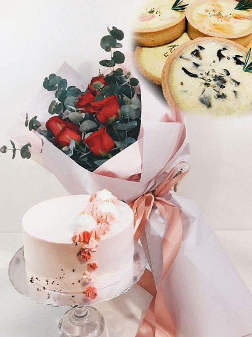"6"" Signature Cake + Rose Bouquet + Artisanal Quiche Bundle"
