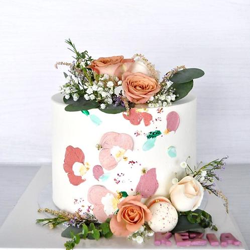 In Full Bloom Floral-Macaron Cake