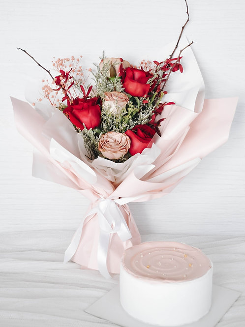 Hari Raya Seasonal Cake & Floral Bouquet Bundle