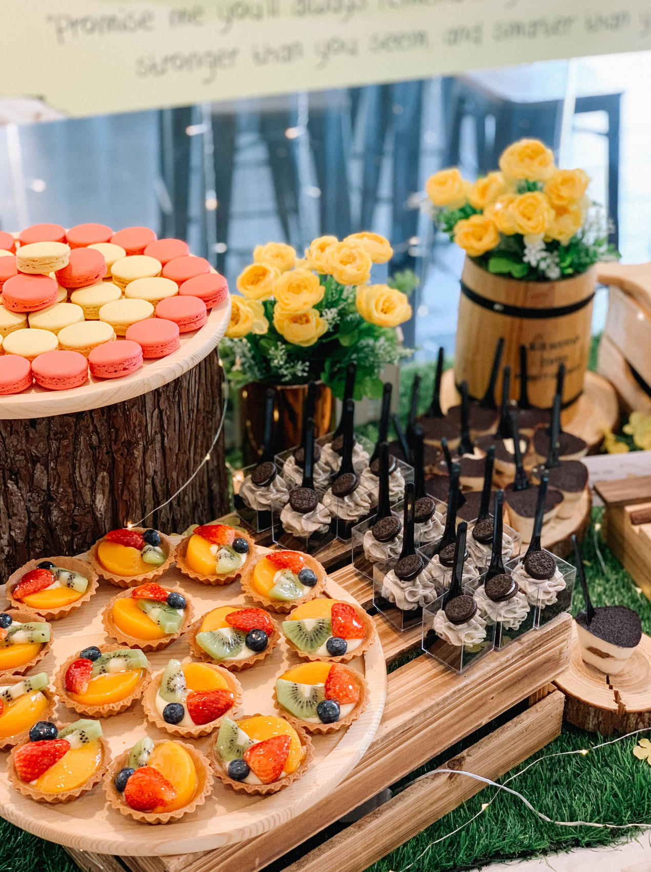 Fruit tarts, macarons, cookies and cream shooters by Divine Artisan