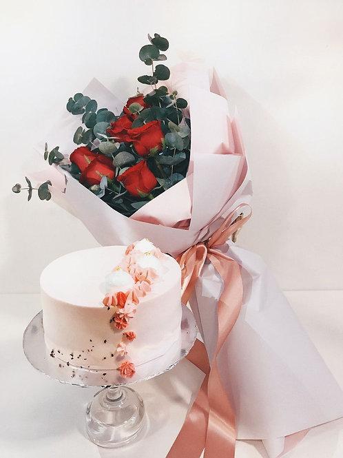 "6"" Signature Cake + Rose Bouquet Bundle"