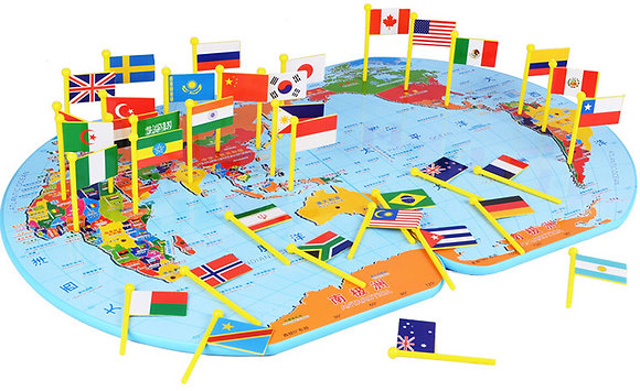 Map and Flags (XL)