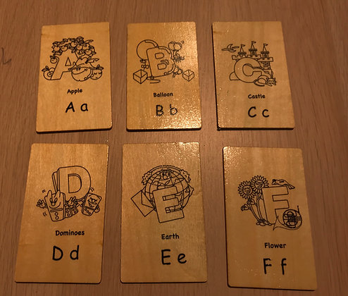 Wooden Alphabets 26 letter Cards