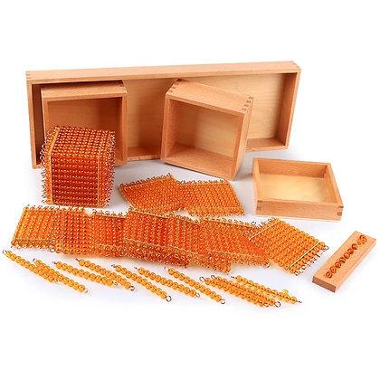 Golden translucent beads decimal system