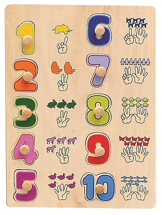Wooden Number Knobbed Puzzle