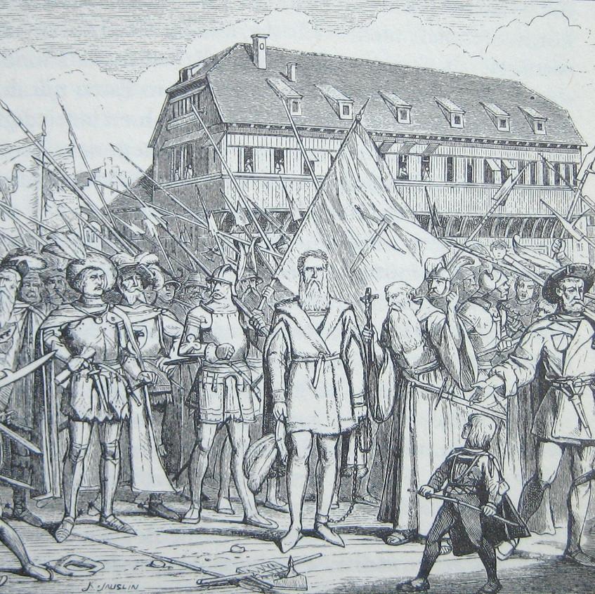 Prefeito_Hans_Waldmann_como_um_prisioneiro_na_ponte_inferior_em_frente_à_antiga_Câmara_Municipal