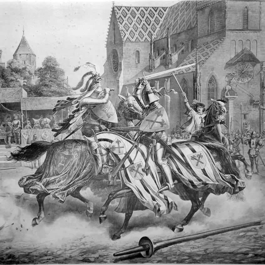 O torneio em Basileia entre Heinrich von Ramstein e o espanhol Don Merlo dezembro de 1428