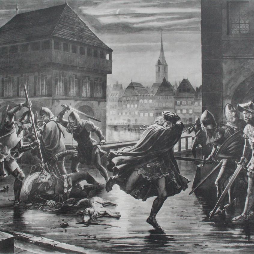 Cena da noite do assassinato de Zurique.
