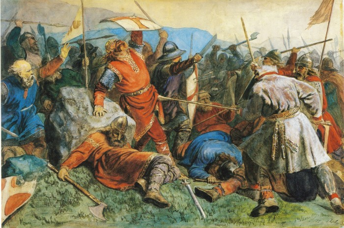 A queda de Santo Olav na batalha de Stiklestad