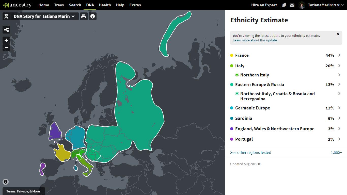 Estimativa de etnia do meu teste de DNA.