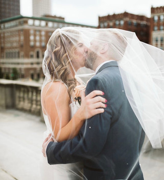 Bride and Groom Portraits; Indiana Wedding; Downtown Wedding