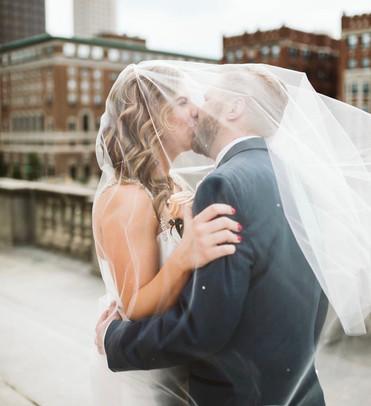 Bride and Groom Portraits; Indiana Wedding; Downtown Wedding