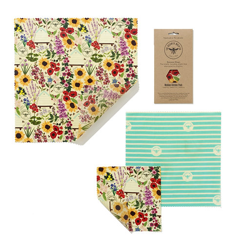 Medium Kitchen Pack - Floral | Beeswax Wraps