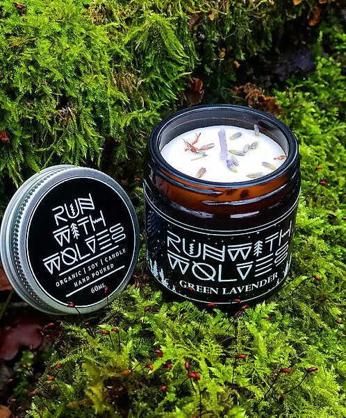 Green Lavender Natural Soy Candle | Run With Wolves, 60ml