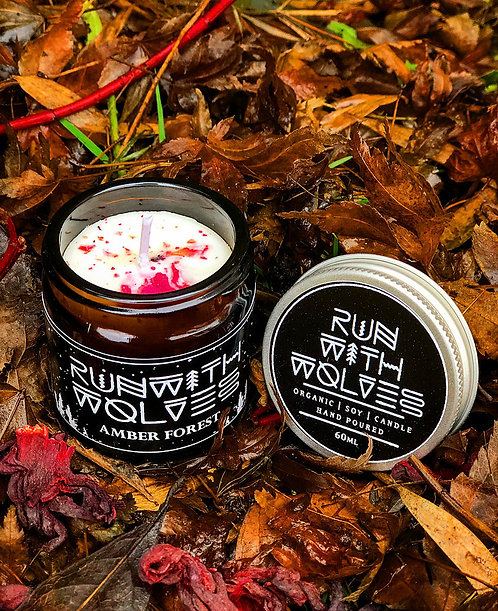 Amber Forest Natural Soy Candle | Run With Wolves, 60ml