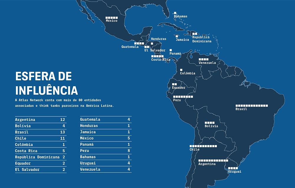 Mapa das organizações da rede Atlas na América do Sul. Fonte: The Intercept