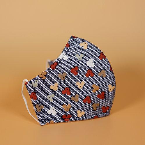 Blue w/ Mini Wingnuts - 3 Layer Cotton Face Mask