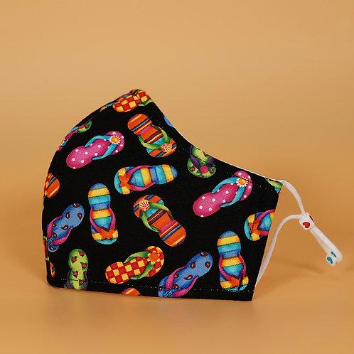 Kids' Mask w/ Adjustable Ear Loops - Black w_Mini Flip flop