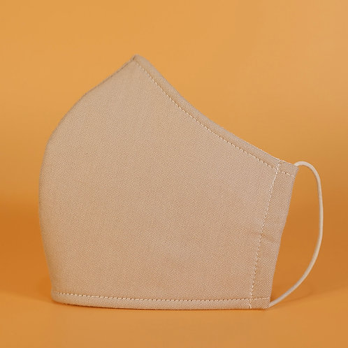 Solid Beige - 3 Layer Cotton Face Mask